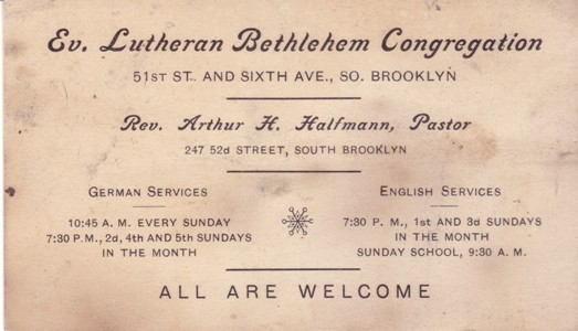History business card of pastor halfmann at the time bethlehem offered services in english and german colourmoves